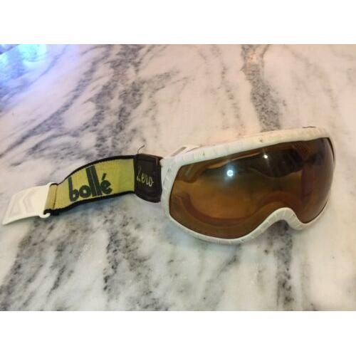 Vintage BOLLE ZERO Skiing GOGGLES GOLD Lens Made in France USA LEATHER YELLOW