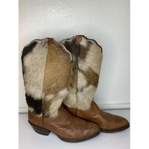 J.B. Hill Painted Roo Boots Calf Top Brown Leather Size 9 B Women's Handmade