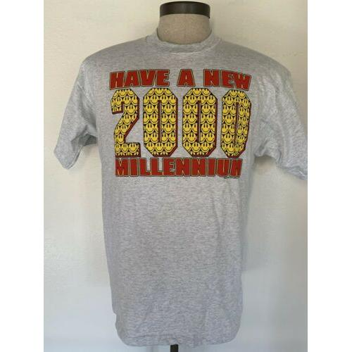 Have A New Millennium 2000 MCMXCVIII T Shirt Gray Large Smiley Face
