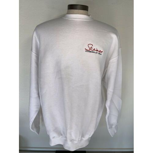Vintage Steiner Fitness At Sea White Sweatshirt XL Surf Gear Tultex Tag 50/50