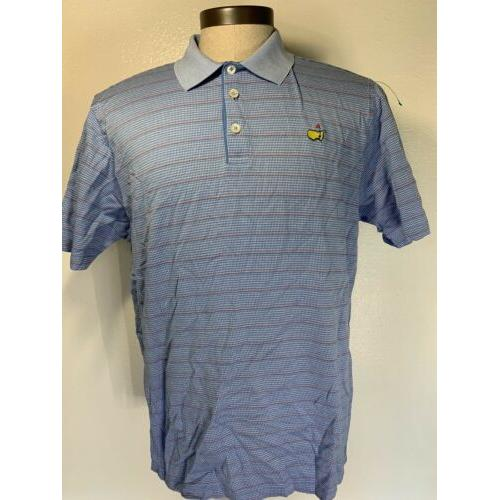 Clubhouse Collection Masters Men's Golf Polo Shirt Blue Black Red Striped Sz XL