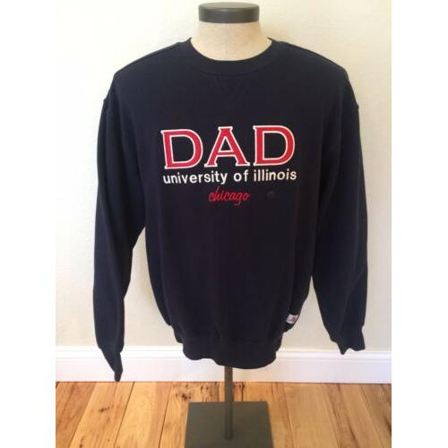 University Of Illinois Chicago DAD Sweat Shirt Men's Size Medium Blue Sportco
