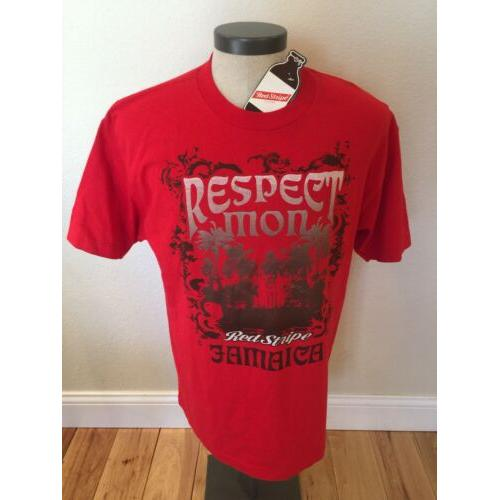 NWT Respect Mon Red Stripe Jamaica Beer Graphic Printed S/S T-Shirt Men's Large