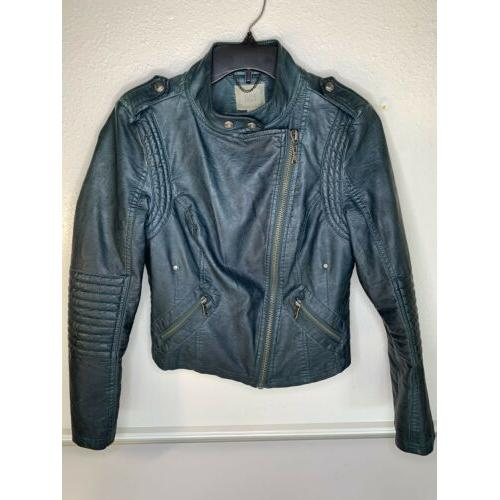 Black Swan Felicity moto motorcycle Jacket Dark Green Size S faux leather EUC