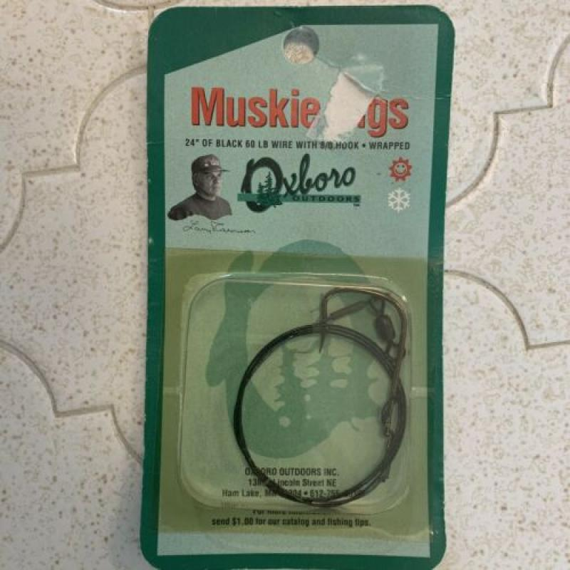 "Oxboro Outdoors Muskie Rigs 24"" Black 60lb Wire w/ 8/0 Hook - Wrapped"