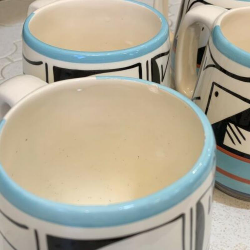 Padilla Native Ute Mountain Tribe MUGs Geometric Ceramic Pottery 20oz Set Of 4