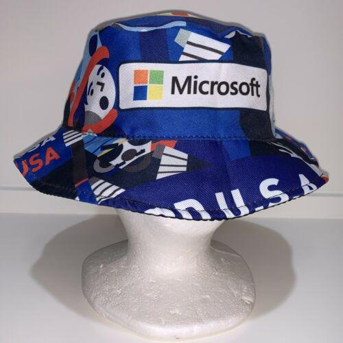 MICROSOFT USA Bill Gates VTG soccer Floppy Beach/Fishing Hat bucket flag AMERICA