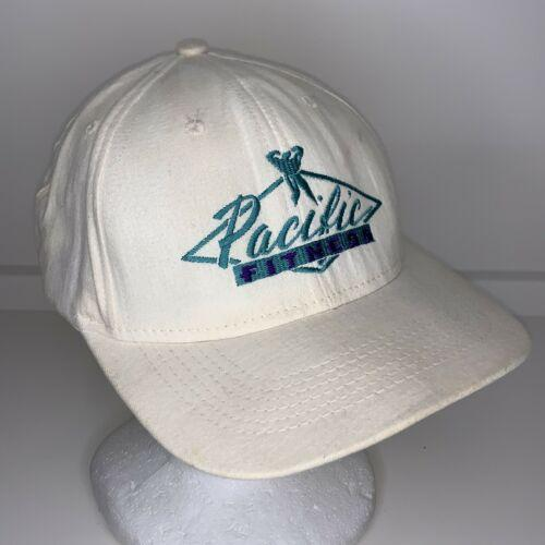Vintage Pacific Fitness Gym White Teal Snapback Hat Cap 6 Panel Adjustable Stain