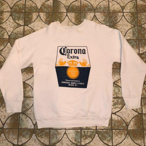 Vintage Corona Sweatshirt Women's S M White USA Distressed Screen Stars 50/50