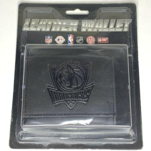 Dallas Mavericks NBA Embossed Logo Black Leather Trifold Wallet