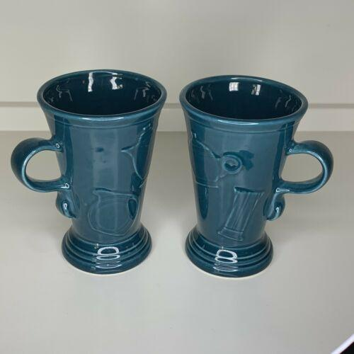 "Fiesta Ware Retired Juniper Green Blue Latte Cappuccino Pedestal Mug 6"" Set Of 2"
