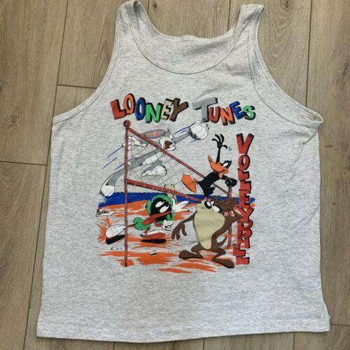 Vintage Looney Tunes Volleyball 1994 Bugs Bunny Gray Tank Top Shirt Medium 90's