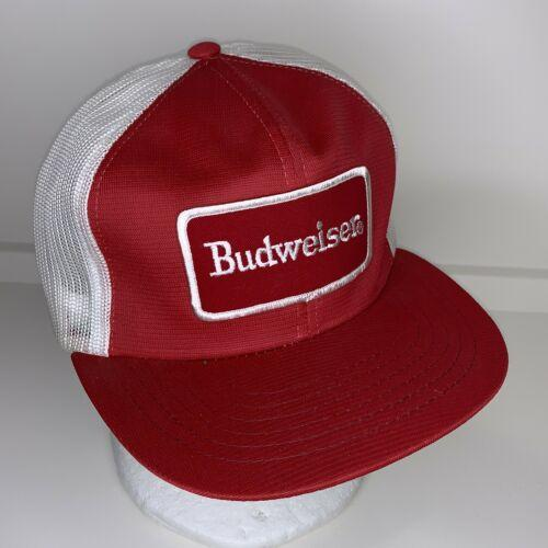 VINTAGE HAT SNAPBACK ADVERTISING FARMER PATCH USA BUDWEISER Beer Red White YA
