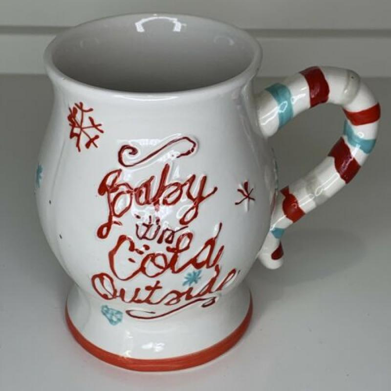 Jumbo Baby It's Cold Outside Coffee Mug Snowflakes Christmas Candy Striped Large