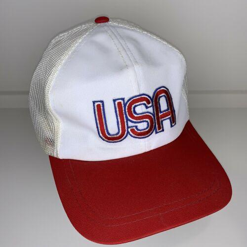 Vintage USA Red White Blue Mesh Snapback Trucker Cap Hat
