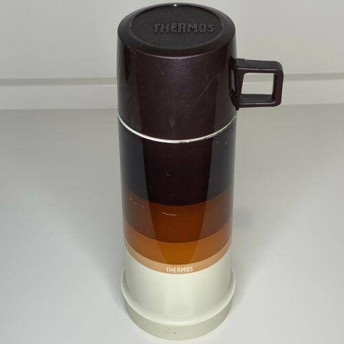 Vntg Thermos Brown Orange Gradient Retro Seeley Filler 22F Stopper 722 Cup 22A63