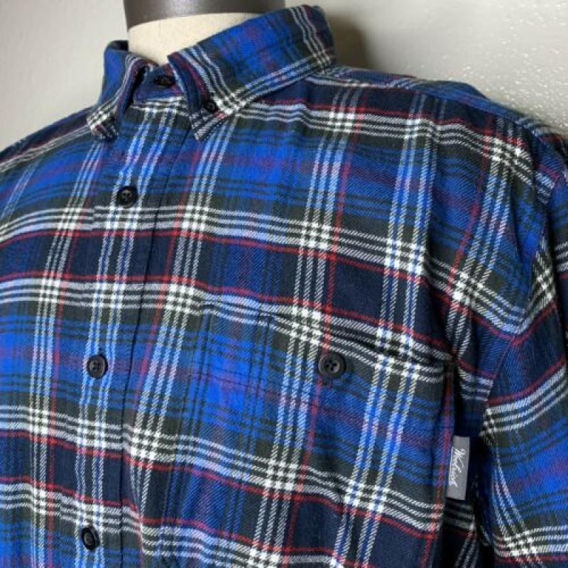 Mens Woolrich Trout Run Button Up Flannel Size XL Blue Plaid Red Black White