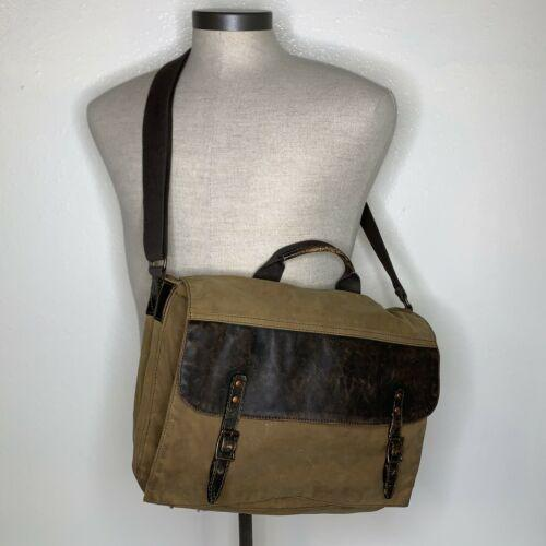 Black Rivet Wilson's Leather Brown Canvas Laptop Bag Satchel Crossbody Carry On