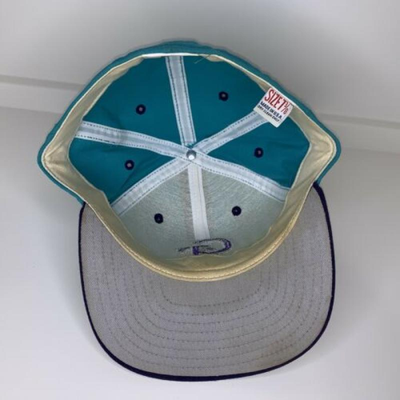 Vintage New Era Teal Purple Pro Model Fitted Baseball Hat 7 3/8 GC