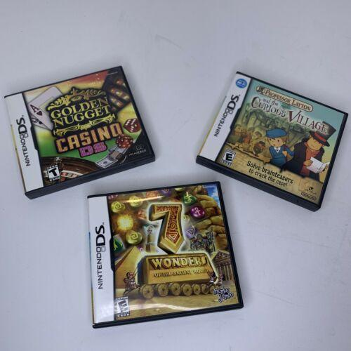 Nintendo DS Games Lot of 3 Prof. Layton Curious Village 7 Wonders Golden Nugget
