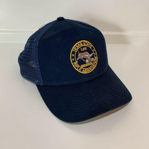 Texas State Rifle Association Life Member Snapback Blue Trucker Hat Vintage