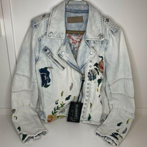 BlankNYC Denim Sitting Pretty Floral Embroidered Studded Moto Jacket Small