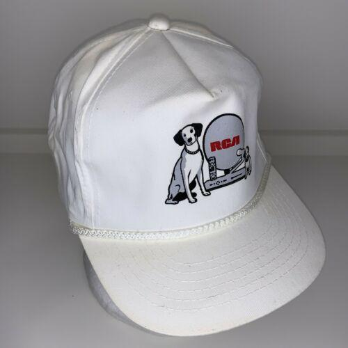 Vintage RCA dog Satelite Dish White Rope Snapback Hat Nipper Cable DVR box