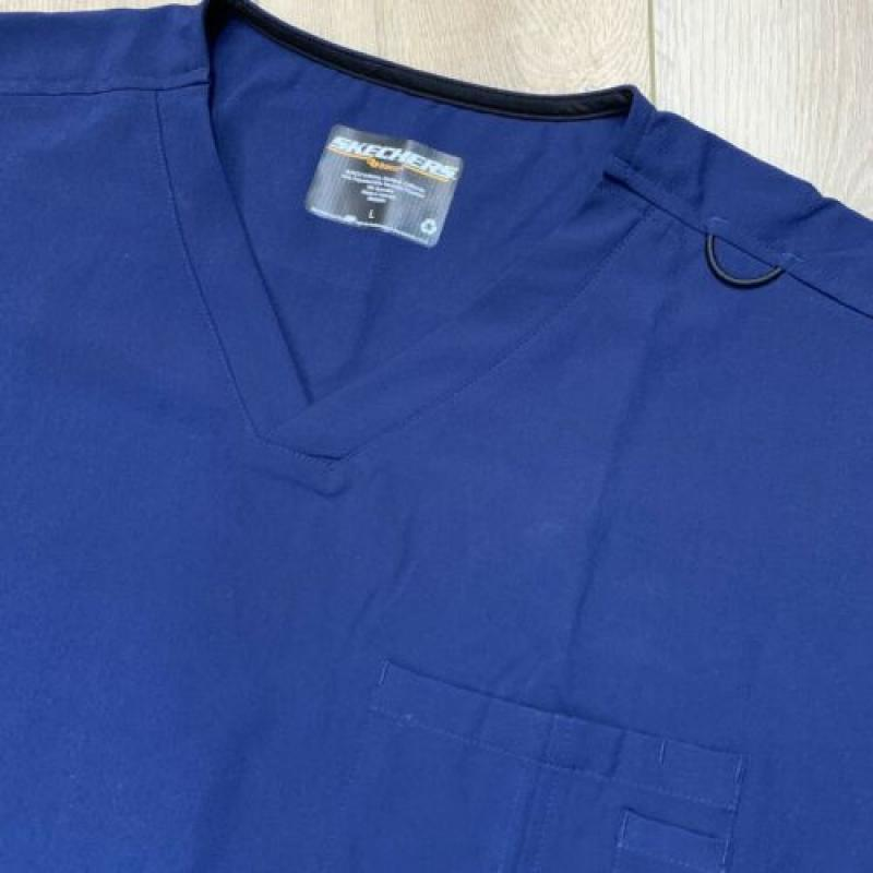 Mens Skechers By Barco Blue Sports V-Neck Scrub Top & Cargo Pant Set Large