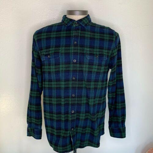 Woolrich Buffalo plaid flannel herringbone plaid checker Green Blue Mens Size L