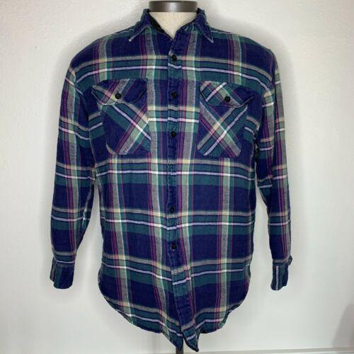 Five Brother Quilted Lined Flannel Plaid Long Sleeve Jacket Shirt Size M Worn
