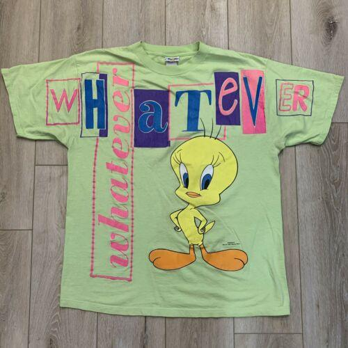Vntg Tweety Bird Lime Green Whatever Freeze Grafic 90's XL T Shirt Looney Tunes