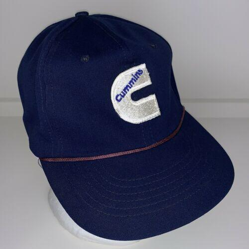 Vintage Cummins C Logo Blue Snapback Cap Trucker Hat Embroidered Rope